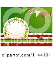 Clipart Of A Christmas Tag With Stacked Papers A Bow Buttons And Banners Royalty Free Vector Illustration by elaineitalia