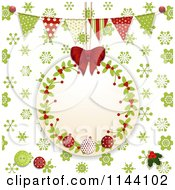 Clipart Of A Christmas Tag Over Green Snowflakes With Banners And Buttons Royalty Free Vector Illustration by elaineitalia