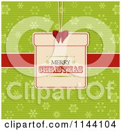Clipart Of A Merry Christmas Gift Label Over A Red Ribbon And Green Snowflakes Royalty Free Vector Illustration