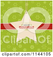 Clipart Of A Merry Christmas Star Label Over A Red Ribbon And Green Snowflakes Royalty Free Vector Illustration