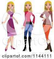 Cartoon Of A Stylish Blond Woman Showin In Different Outfits Royalty Free Vector Clipart by peachidesigns