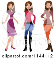 Cartoon Of A Stylish Brunette Woman Showin In Different Outfits Royalty Free Vector Clipart by peachidesigns
