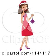 Happy Brunette Christmas Woman Holding A Bauble