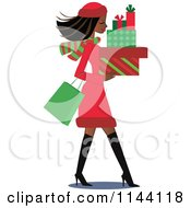Cartoon Of A Shopping Black Christmas Woman Carrying Gift Boxes Royalty Free Vector Clipart by peachidesigns #COLLC1144118-0137