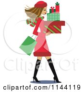 Cartoon Of A Shopping Brunette Christmas Woman Carrying Gift Boxes Royalty Free Vector Clipart by peachidesigns