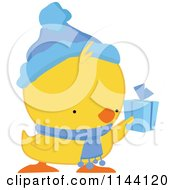 Cartoon Of A Cute Christmas Duckling Or Chick Holding A Present Royalty Free Vector Clipart