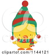 Cartoon Of A Cute Christmas Duckling Or Chick In A Scarf And Hat 1 Royalty Free Vector Clipart