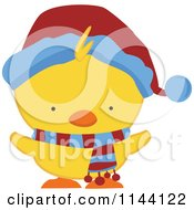 Cartoon Of A Cute Christmas Duckling Or Chick In A Scarf And Hat 2 Royalty Free Vector Clipart