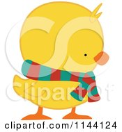 Cartoon Of A Cute Christmas Duckling Or Chick In A Scarf Royalty Free Vector Clipart