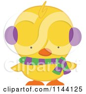 Cartoon Of A Cute Christmas Duckling Or Chick In A Scarf And Ear Muffs Royalty Free Vector Clipart