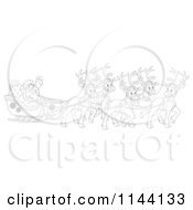 Cartoon Of An Outlined Santa Waving From His Sleigh While Holding The Reins To His Reindeer Royalty Free Clipart