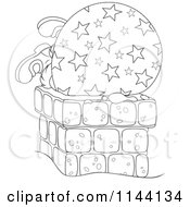 Cartoon Of An Outlined Santa And His Bag Getting Stuck In A Chimney Royalty Free Vector Clipart