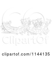 Cartoon Of Outlined Magic Reindeer And Santa Waving From His Sleigh Royalty Free Vector Clipart