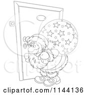 Cartoon Of An Outlined Santa Peeking Through A Door Key Hole Royalty Free Vector Clipart