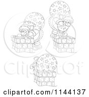 Cartoon Of Outlined Santas And Chimneys Royalty Free Vector Clipart