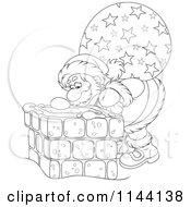 Cartoon Of An Outlined Santa And His Bag Looking Down A Chimney Royalty Free Vector Clipart