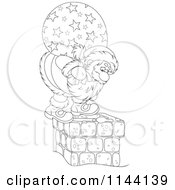 Cartoon Of An Outlined Santa And His Bag Standing On And Looking Down A Chimney Royalty Free Vector Clipart
