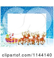 Cartoon Of A Frame Of Santa Waving From His Sleigh While Holding The Reins To His Reindeer Royalty Free Clipart