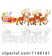 Cartoon Of Outlined And Colored Santa Waving From His Sleigh While Holding The Reins To His Reindeer Royalty Free Clipart