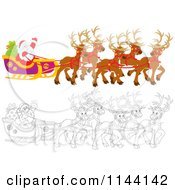 Cartoon Of Outlined And Colored Magic Reindeer And Santa Waving From His Sleigh Royalty Free Vector Clipart