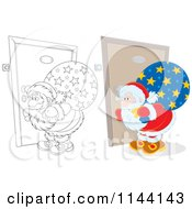 Cartoon Of An Outlined And Colored Santa Peeking Through A Door Key Hole Royalty Free Vector Clipart