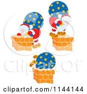 Cartoon Of Santa And His Bag By Chimneys Royalty Free Vector Clipart