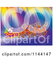 Cartoon Of Santa Waving While Flying With His Sleigh And Reindeer Through Northern Lights Royalty Free Clipart by Alex Bannykh