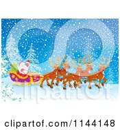 Cartoon Of Santa Waving From His Sleigh While Holding The Reins To His Reindeer In The Snow Royalty Free Clipart