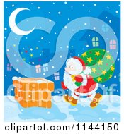Cartoon Of Santa Carrying His Bag Torwards A Chimney On Christmas Eve Royalty Free Vector Clipart