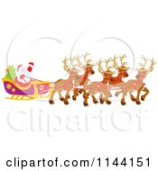 Cartoon Of Magic Reindeer And Santa Waving From His Sleigh Royalty Free Vector Clipart