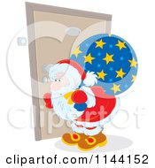 Cartoon Of A Santa Peeking Through A Door Key Hole Royalty Free Vector Clipart