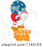 Cartoon Of Santa With His Bag Standing On And Looking Down A Chimney Royalty Free Vector Clipart