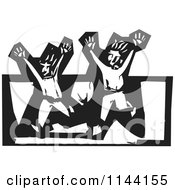 Clipart Of A Black And White Scared Men Running Woodcut Royalty Free Vector Illustration by xunantunich