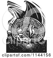 Clipart Of A Black And White Resting Fire Breathing Dragon Woodcut Royalty Free Vector Illustration