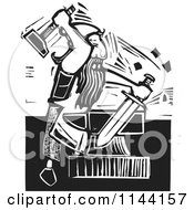 Clipart Of A Black And White Blacksmith Forging A Sword Woodcut Royalty Free Vector Illustration
