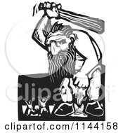 Clipart Of A Black And White People Running From An Angry Troll With A Club Woodcut Royalty Free Vector Illustration