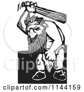 Clipart Of A Black And White Angry Troll With A Club Woodcut Royalty Free Vector Illustration