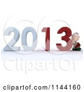 Clipart Of A 3d Christmas Elf Pushing New Year 2013 Numbers Together Royalty Free CGI Illustration