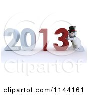 Clipart Of A 3d Snowman Pushing New Year 2013 Numbers Together Royalty Free CGI Illustration
