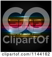 Clipart Of A Neon Futuristic Happy New Year 2013 Background Royalty Free Vector Illustration
