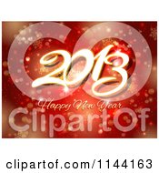 Clipart Of A Happy New Year 2013 Greeting Over Red Snowflakes And Bokeh Lights Royalty Free Vector Illustration