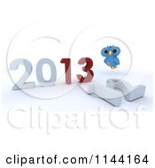 Clipart Of A 3d Owl Over A New Year 2013 And Knocked Down 12 Royalty Free CGI Illustration by KJ Pargeter