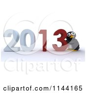 Clipart Of A 3d Penguin Pushing New Year 2013 Numbers Together Royalty Free CGI Illustration by KJ Pargeter