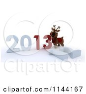 Clipart Of A 3d Reindeer And New Year 2013 And Knocked Down 12 Royalty Free CGI Illustration