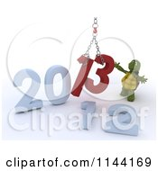 Clipart Of A 3d New Year Tortoise Replacing 2012 With 2013 Royalty Free CGI Illustration