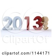 Clipart Of A 3d Box Boy Pushing New Year 2013 Numbers Together Royalty Free CGI Illustration by KJ Pargeter