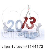Clipart Of 3d New Year White Characters Replacing 2012 With 2013 Royalty Free CGI Illustration