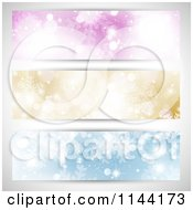 Clipart Of Purple Gold And Blue Christmas Bokeh And Snowflake Website Banners Royalty Free Vector Illustration
