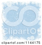 Clipart Of A Blue Christmas Background With Snowflake Grunge Royalty Free Vector Illustration