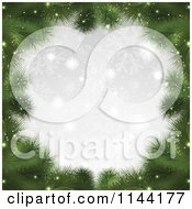 Clipart Of A Christmas Fir Tree Branch Frame With Bokeh Lights And Silver Snowflakes Royalty Free Vector Illustration